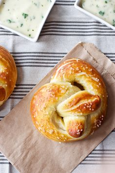 Soft Pretzels with Roasted Jalapeno Cheese Sauce  -- the dough can be made ahead, frozen, and then quickly baked before company comes.