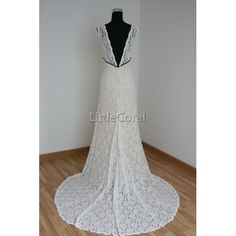 lace wedding dress :)  Yes to the dress, no to the material