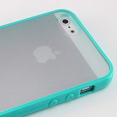 New Blue TPU Bumper Frame Case w PC Clear Back Cover For iPhone 5 5G