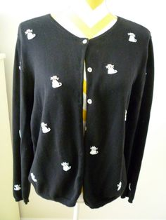 White Beaded Cats on Black Knit Sweater Hand by classy10 on Etsy ...New Price