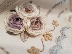 #embroidery Flower Embroidery Designs, Cute Embroidery, Beaded Embroidery, Cross Stitch Embroidery, Embroidery Patterns, Bullion Embroidery, Smocking Patterns, Embroidered Roses, Sewing Stitches