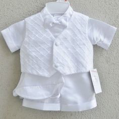 $42 Baptism Christening Baby Boy White Shirt/Pant/Vest/Tie/Hat Outfit 5 Piece Set