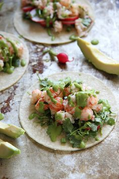 Lobster Tacos with Green Onion Sauce.