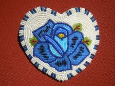 NEW! Native American Indian SHOSHONE blue rose beaded barrette hair piece HEART