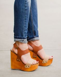 Wood Color Blocked Platform Wedge