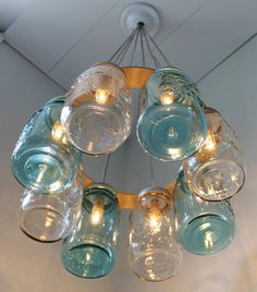Modern Country MASON JAR Chandelier - Upcycled Hanging Mason Jar Lighting Fixture Direct Hardwire - BootsNGus Lamps Rustic Home Decor. $300.00, via Etsy.