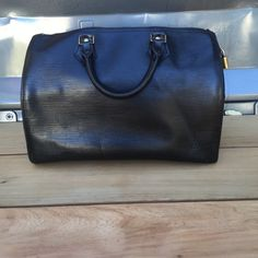 LV Louis Vuitton Black Epi Speedy 30 100% REAL I hate to let this bag go, but I just don't use it anymore.  No dust bag, no key to lock.  Cleaning out my closet downsizing my loss is your gain.  NO TRADES. I am downsizing. Louis Vuitton Bags Totes
