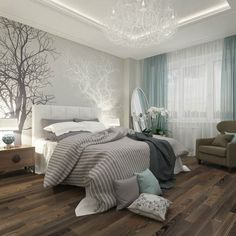 Beautiful serene bedroom idea with soft grey colors and love those graphic trees on the wall