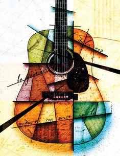 Guitar Art Print featuring the digital art Resonancia En Colores by Gary Bodnar