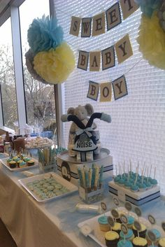 "Photo 2 of Desserts Shower / Baby Shower/Sip & See ""Office Baby Shower""… Bebe Shower, Baby Shower Fun, Shower Party, Baby Shower Parties, Baby Shower Themes, Baby Shower Gifts, Baby Gifts, Shower Ideas, Motorcycle Baby"