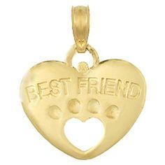 3d Dog Paw Gold Charm Best Friend On Heart: Jewelry: Amazon.com