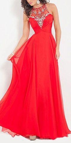 Red Long Chiffon Prom Dress