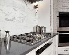 nice grey calacatta kitchen countertops and clean classic white calacatta backsplash for contemporary kitchen design