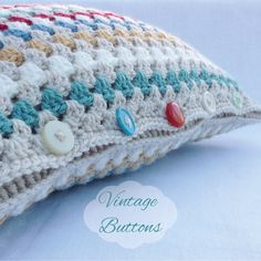 Traditional Granny Square Crochet Cushion by CottonFieldsCrochet