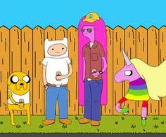 Haha it's making fun of both King of the Hill & Adventure Time(: