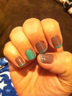 Taupe and teal - I don't like the accent nail on French tip manis, but I really like this color combination.