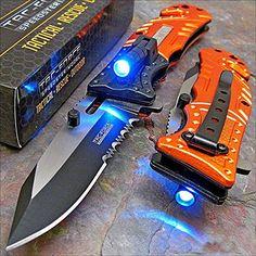 Tac-force Orange EMT LED Tactical Rescue Pocket Knife NEW