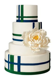 Brides.com: The Most Creative Wedding Cakes of the Year. Elegantly Iced, Brooklyn, NY. Hosting a preppy wedding, perhaps along the shores of Nantucket? Make this tartan-inspired wedding cake the showpiece and wow even your most upper-crust guests.  Tartan-inspired white wedding cake, $12 per slice (serves 70), Elegantly Iced  See more preppy wedding cakes.