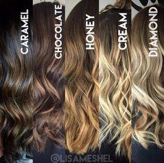 Tonos de degradado de cabello. Los 3 primeros quedan bien para morenas, y los otros dos van mejor con las güeritas