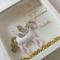 A brand new and LIMITED EDITION glitter framed My Heart Belives in many things my eyes have never seen With Glitter Gold or Silver Puffy Unicorn Frame Crafts, Fun Crafts, Diy And Crafts, Crafts For Kids, Box Frame Art, Box Frames, Unicorn Birthday Parties, Unicorn Party, Craft Projects