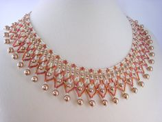 Bronze Pearl Beaded Collar Necklace, Beadwork, Seed Bead, Rose Gold. $73.00, via Etsy.