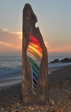 Flame by Louise V Durham Stained Glass Sculptures Shoreham by Sea Stained Glass Designs, Stained Glass Projects, Stained Glass Patterns, Stained Glass Art, Stained Glass Windows, Mosaic Art, Mosaic Glass, Glass Garden Art, Driftwood Art