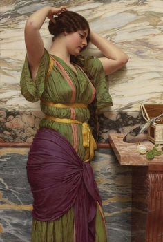 A Fair Reflection: 1915 by John William Godward (Unkknown Owner/Private Collection - Location Unknown) Pre-Raphaelite John William Godward, John William Waterhouse, William Hogarth, Lawrence Alma Tadema, Classic Paintings, Beautiful Paintings, European Paintings, Carl Spitzweg, Tile Murals
