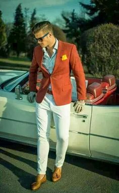 Orange Blazer, white pants and Vintage cars find more mens fashion on www.misspool.com