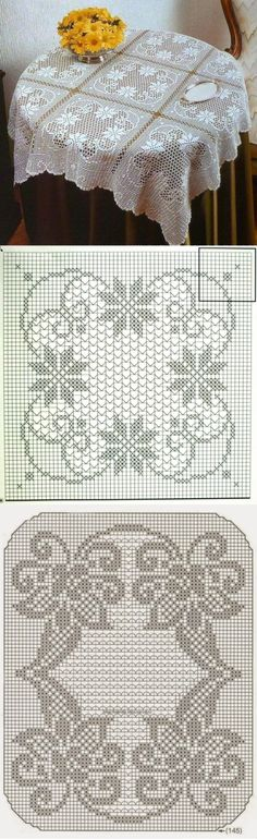 Diy Crafts - Ideas for crochet blanket granny square vintage crochet Crochet Stitches Patterns, Thread Crochet, Afghan Patterns, Crochet Tablecloth, Crochet Doilies, Oval Tablecloth, Fillet Crochet, Crochet Squares, Blanket Crochet