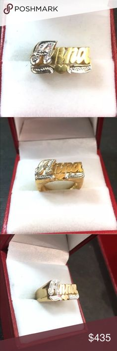 """New Solid 14K White & Yellow gold Name Ring """"Anna"""" New Solid Handmade 14K White & Yellow gold Customized Name Ring """"Anna""""   Material:  Solid 14k White and Yellow gold   Ring Size:  Size - 5.5  (Need another size? message us first )   Stone set :  No stone   Approx. Stone weight :  N/A   Measurement :  Top Width Approx: 0.78"""" inches ( 19.8 mm)  Top Height Approx: 0.41"""" inches ( 10.6 mm)   Approx. Weight :  4.7 grams   Free Gift Box  Item # JN11201702-Shop-1202-GR Jewelry Rings"""