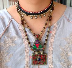 Triangle pendant necklace .Ethnic Tribal coin necklace.,Hand made Old jewelry.Ethnic Stone Jewelry.Tribal Gypsy Jewelry.British Raj Coin Necklace, Gemstone Necklace, Pendant Necklace, Tribal Jewelry, Bohemian Jewelry, Bohemian Rings, Red Agate, Eye Shapes, Silver Coins