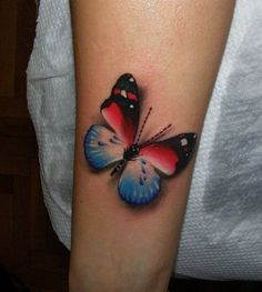 Red, white and blue butterfly design.