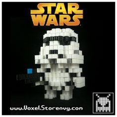 3D Storm Trooper Star Wars perler beads by Voxel