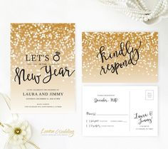 New Year's Eve wedding invitation with RSVP card | Gold sparkly wedding invitations | Let's Ring in the New Year invitation by LemonWedding on Etsy