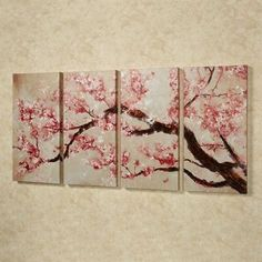 Cherry Blossom Tree Quadtych Canvas Art Set Cherry Blossom Tree Canvas Quadtych Pink Set of Four Cherry Blossom Bedroom, Cherry Blossom Decor, Cherry Blossom Painting, Blossom Trees, Cherry Blossoms, Tree Canvas, Canvas Wall Art, Painting Canvas, Canvas Canvas