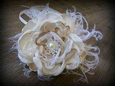 R320  Wrist corsage with feathers  Ivory by KathleenBarryJewelry, $35.00