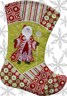 """""""Winding Whimsy"""" quilt & stocking pattern - stocking is quilted on Baby Lock's Sashiko machine - embroidery design from """"Whimsical Santa's"""" applique design set."""