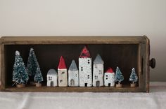 shadowbox village...ceramic houses.by Jenny Walker