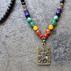 Necklaces - 108 Bead Mala, Gemstone Chakra Convertible Necklace With Durga Pendant