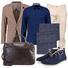 fb7c220e134c Blu e beige  outfit uomo Casual per ufficio