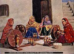 "Punjabi womens making yaan with ""charkha"""