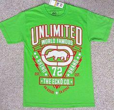 New$39 Mens(Sm) ECKO UNLTD T-SHIRT Lime-Green&red/white Rhino Unlimited Big-Logo #ECKO #GraphicTee