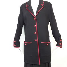 ST JOHN JACKET SZ 14 BLACK w/ Red Piping Signature Red Gold Buttons Santana Knit #StJohn #JACKETBLAZER