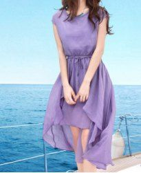 Drawstring Solid Color Short Sleeve Round Collar Women's Dress