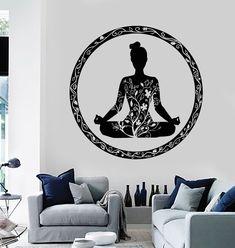 Vinyl Wall Decal Yoga Meditation Room Circle Ornament Buddhism Stickers (ig3609)