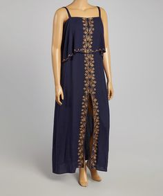 Another great find on #zulily! Navy & Tan Embroidered Maxi Dress - Plus #zulilyfinds