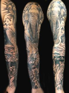 Tattoo, sleeve, africa, african animals, wildlife