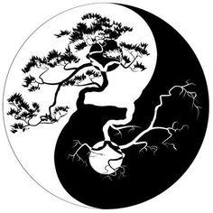 Black and white Bonsai tree on the Yin Yang symbol. Free art print of Yin Yang Bonsai. Arte Yin Yang, Ying Y Yang, Yin Yang Art, Yin And Yang, Ying Yang Symbol, Life Tattoos, Body Art Tattoos, Tattoo Drawings, Art Drawings