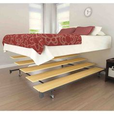 Wonderful Bedroom Furniture Decor With Comfortable Platform Bed Frame Ideas: Unique Bedroom Furniture Bedding Design With Wonderful Platform Bed Frame Queen Size With Iron Wheels Standing On Wood Vinyl Flooring For Elegant Bedroom Decor Bed Frame With Mattress, Full Bed Frame, King Size Bed Frame, Full Beds, Unique Bedroom Furniture, Bed Furniture, Furniture Ideas, Cool Bed Frames, Metal Bed Frame Queen