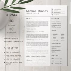 Professional resume template Modern resume template Creative | Etsy